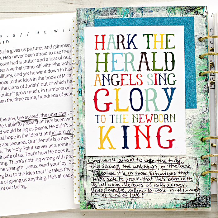 Advent Mixed Media Art Worship Journal | Day 4 using Naptime Diaries Advent Devotional and Calendar cards