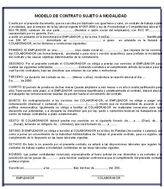 legislacion laboral modelo contrato de trabajo