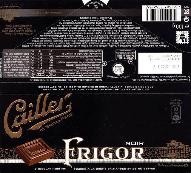 tablette de chocolat noir fourré cailler noir frigor