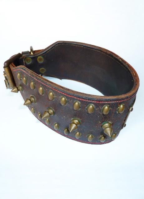 antique antique dog collar, rare dog collar, victorian dog collar, antique leather and brass dog collar