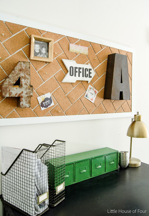 DIY Herringbone Cork Board- Little House of Four