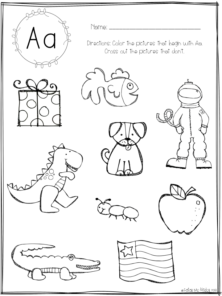 Alphabet Sounds Coloring Pages : Color me kinder it beginning sounds printable pack