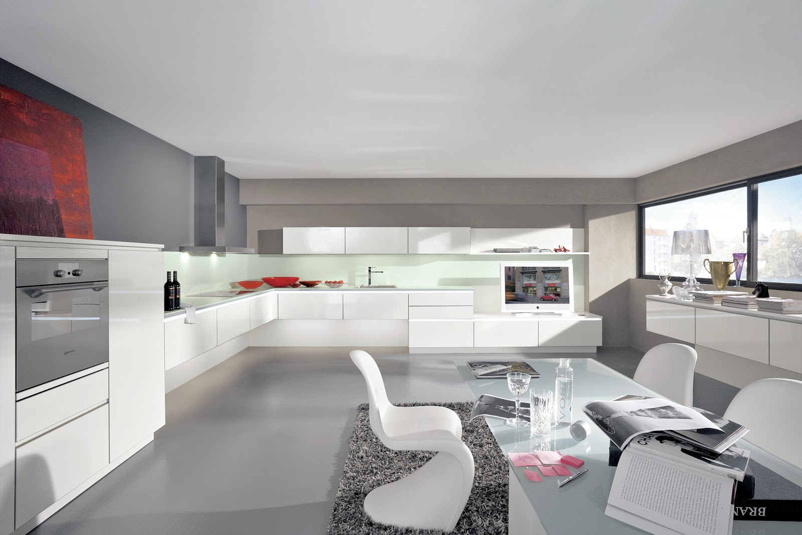 Cuisine design blanche en l for Cuisine design en u