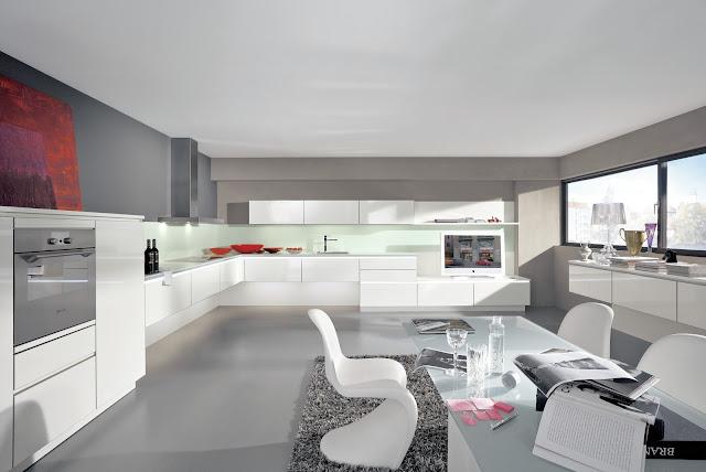 cuisine design blanche sans poignées, cuisine en L de chez ALNO