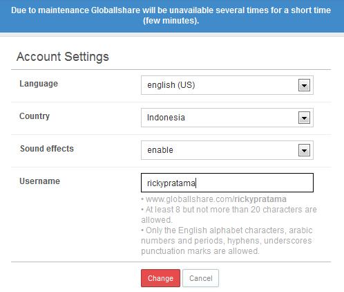 pengaturan dasar menentukan nama username akun globallshare anda