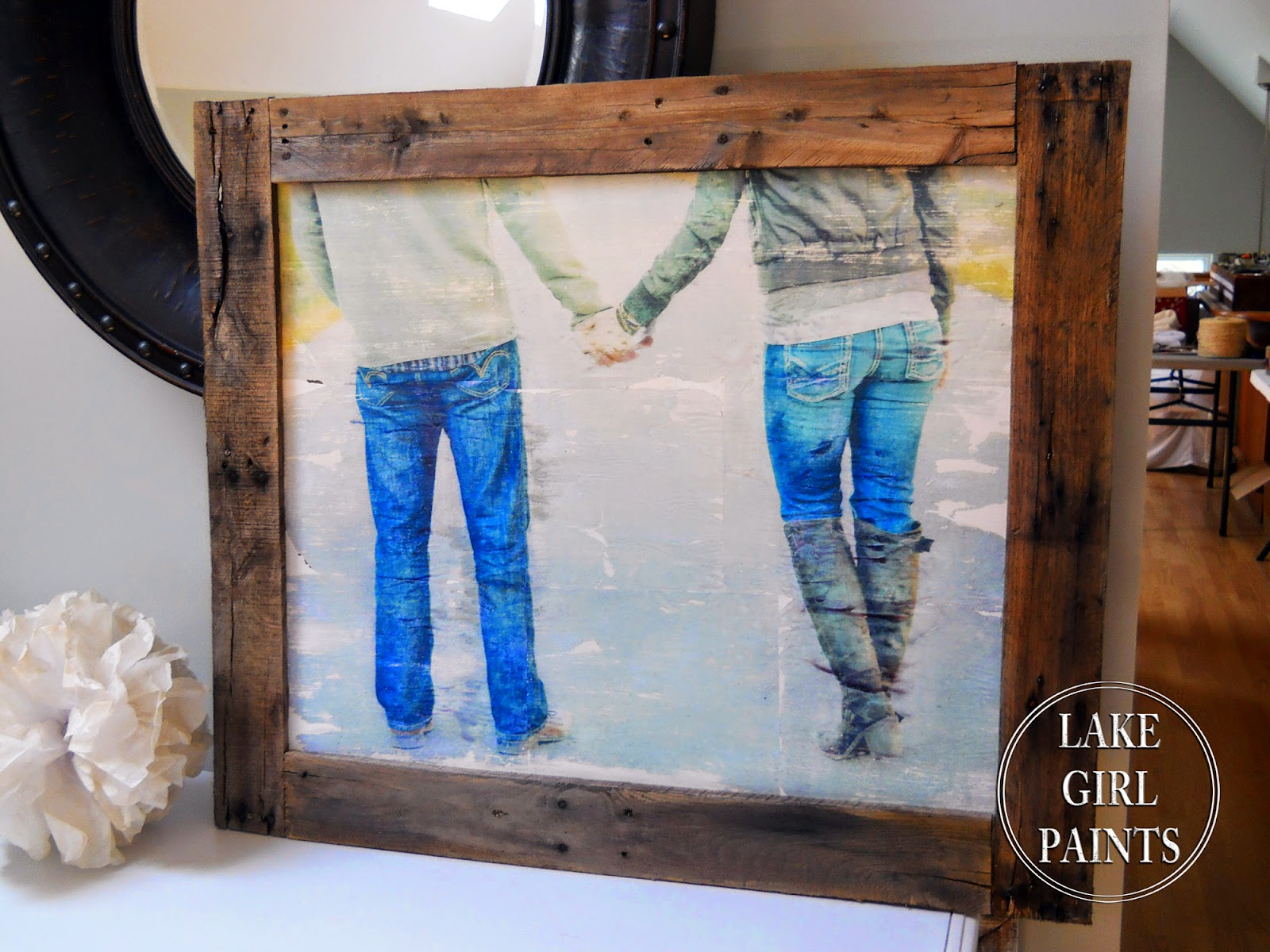 lake girl paints large photo transfer art for 15 with