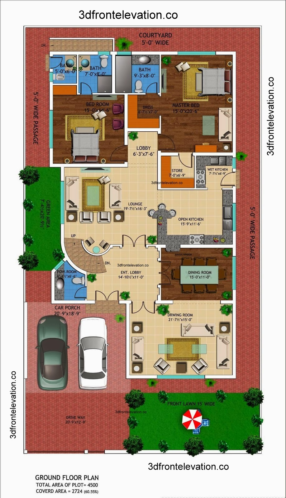 3d front 1 kanal house drawing floor for Home map design free layout plan in india