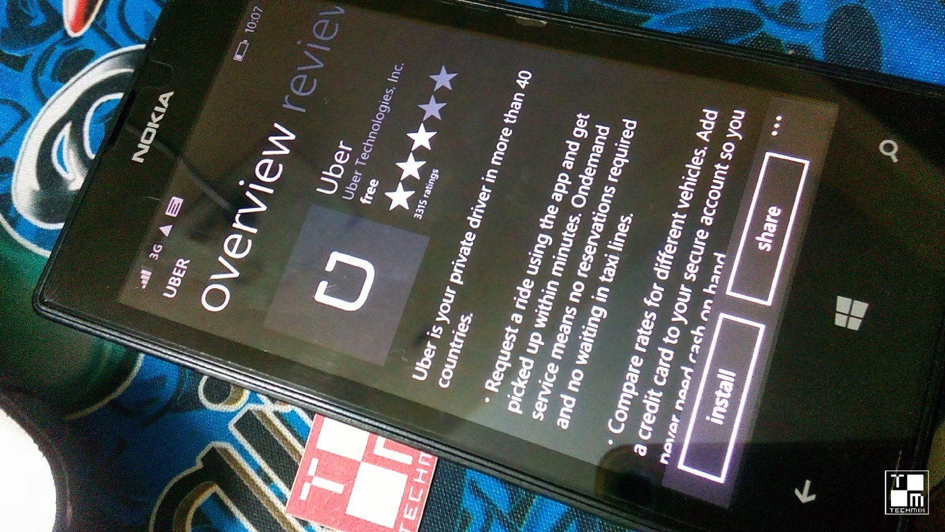 uber app for windows phone