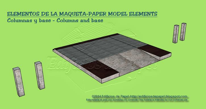 Elementos de la maqueta: columnas y base