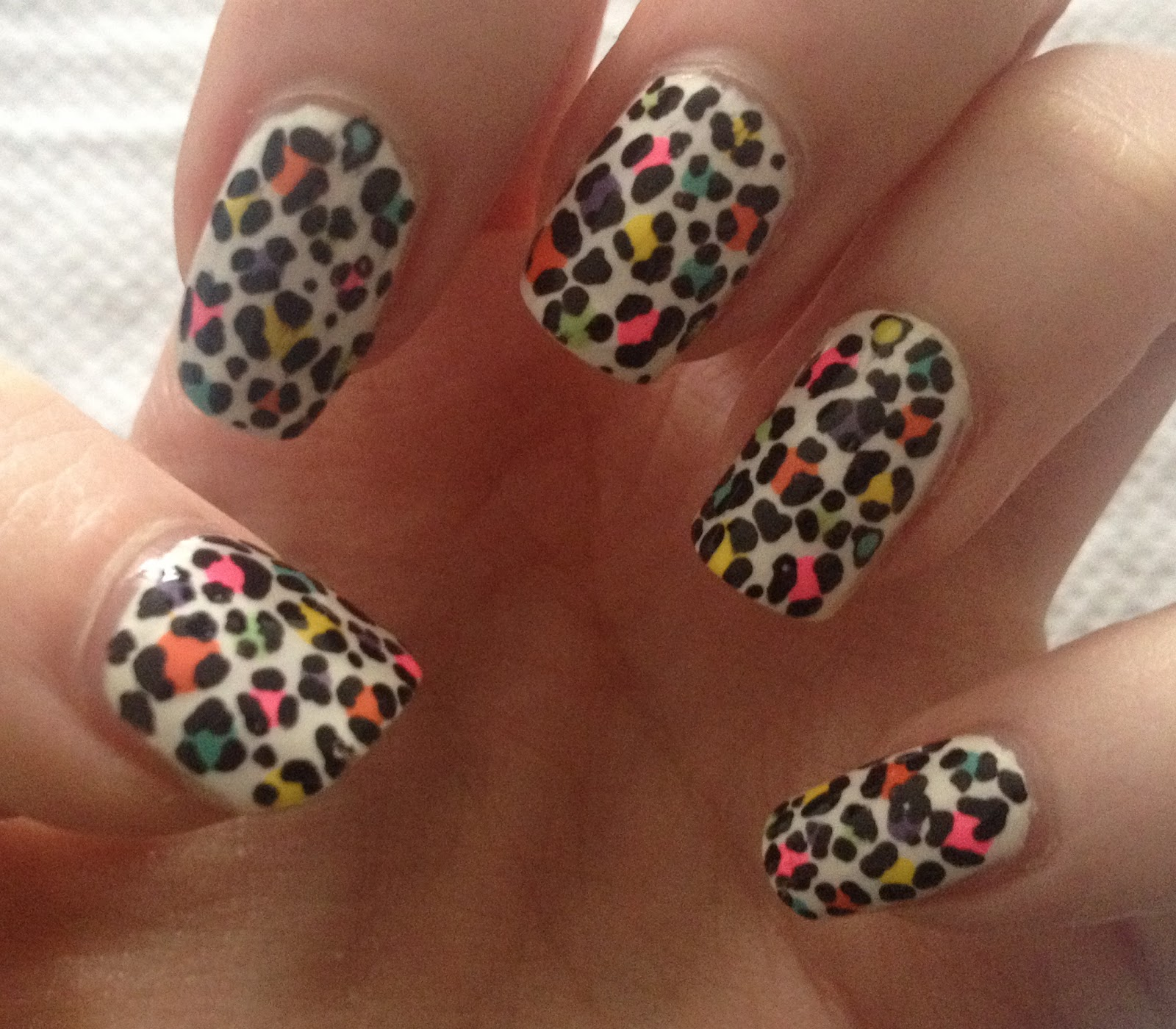 Multi Coloured Leopard Print Nails