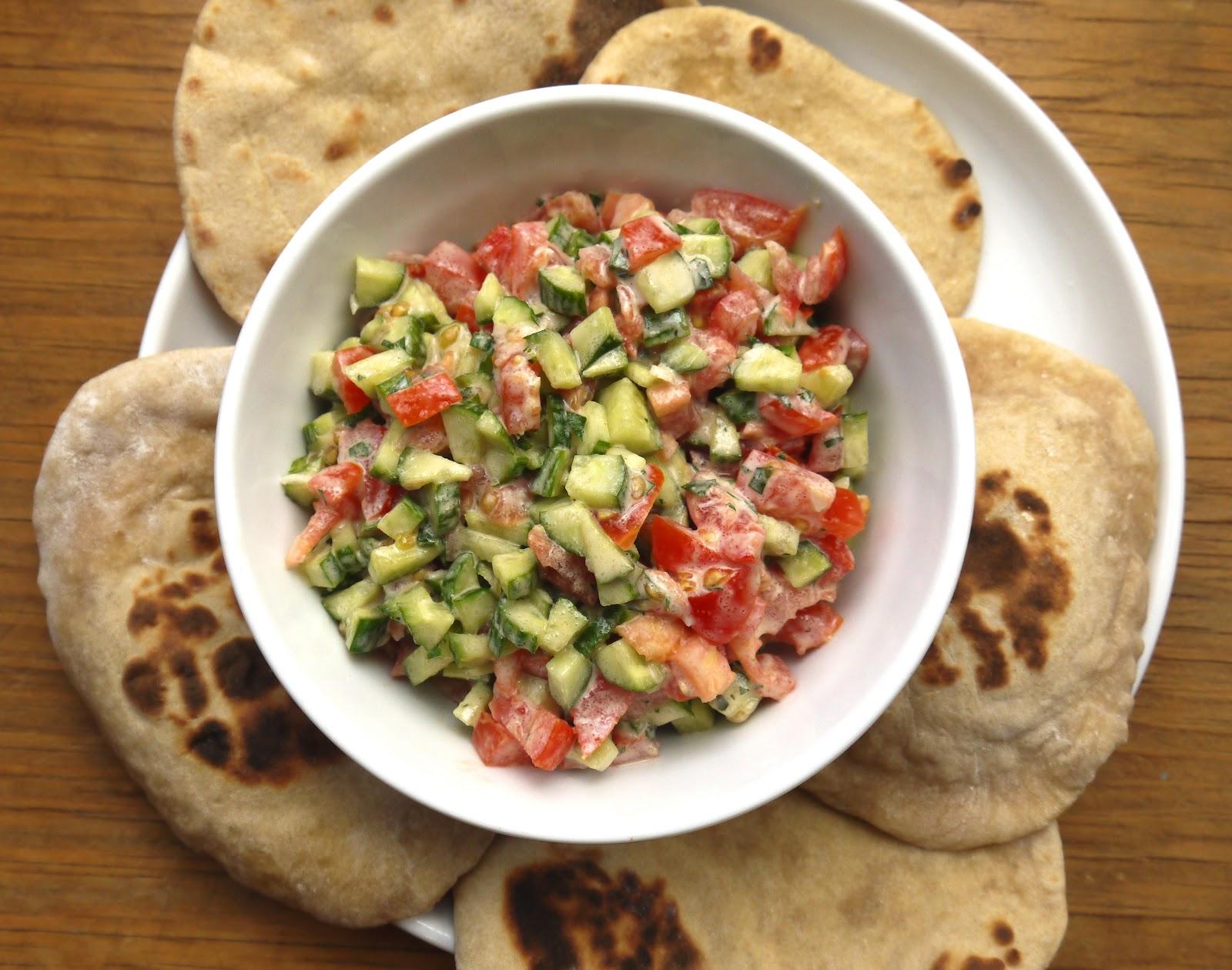 Bint Rhoda's Kitchen: Cucumber-Tomato Salad with Tahini-Lemon Dressing