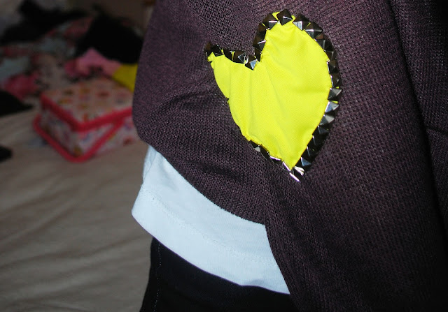 studded neon yellow elbow patches