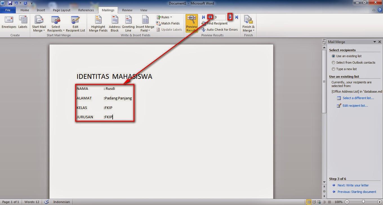 Cara Atau Langkah-langkah Membuat Mail Merge