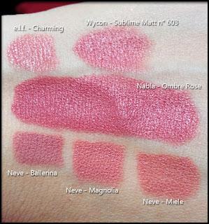Nabla Cosmetics - Diva Crime Lipsticks - Ombre Rose - Confronto con Charming di e.l.f., il Sublime Matt n° 603 di Wycon, le Pastello labbra Ballerina, Magnolia e Miele di Neve Cosmetics