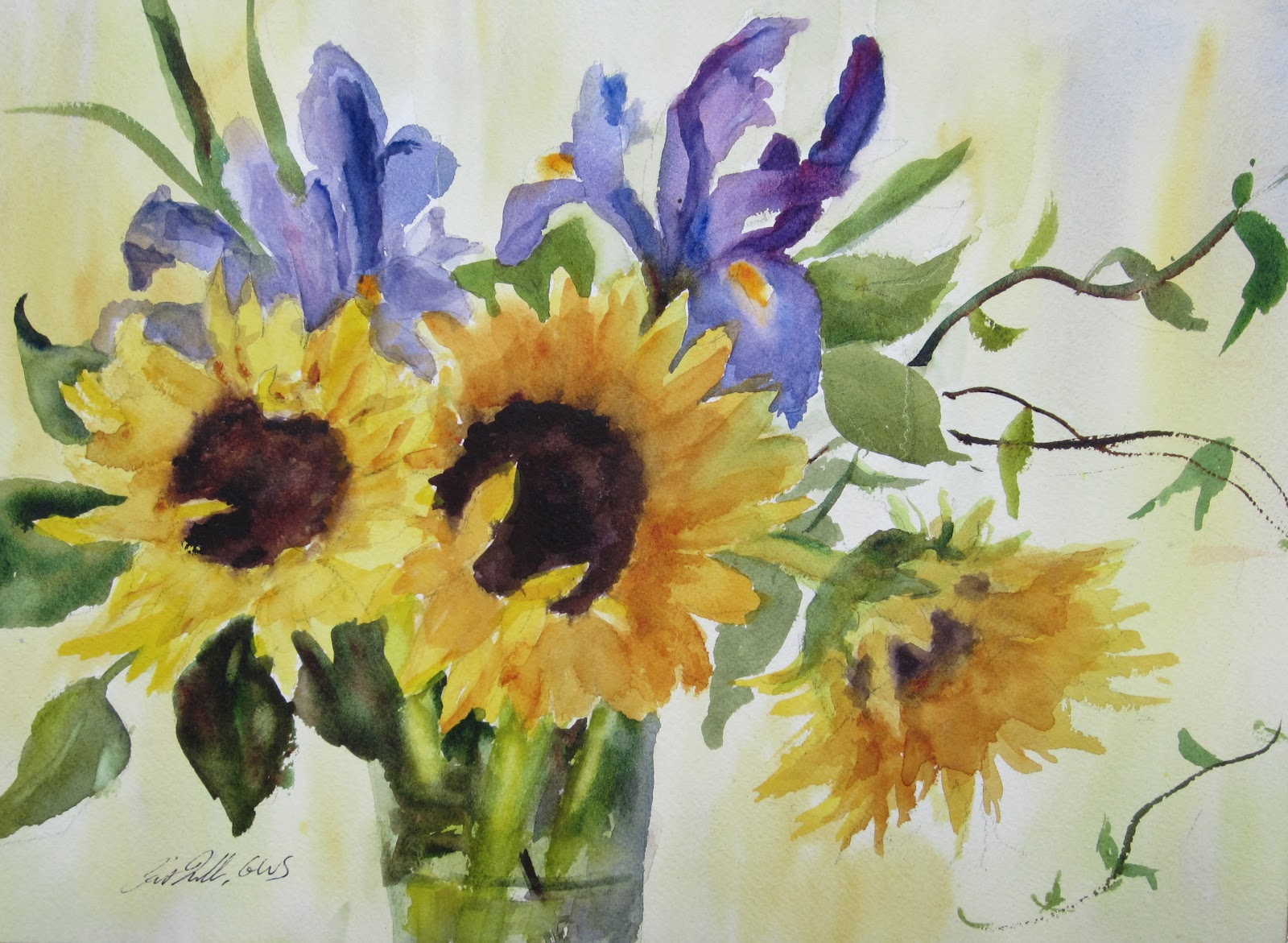 Pat Fiorello Art Elevates Life Painting Flowers in Watercolor Sunflowers