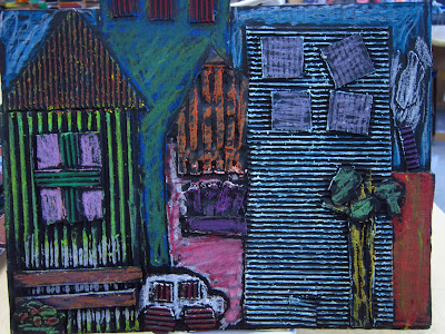 oil pastels paint cardboard city scapes