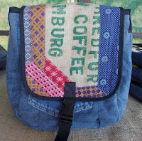 messenger bag with flap out of coffee sack and ShweShwe patchwork