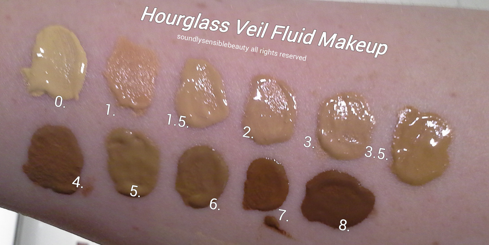 Hourglass Veil Fluid Makeup- Oil Free Foundation SPF 15 Review & Swatches of Shades #0 Porcelain, #1 Ivory, #1.5 Nude, #2 Light Beige, #3 Sand, #3.5 Honey,  #4 Beige, #5 Warm Beige, #6 Sable, #7 Chestnut, #8 Walnut,