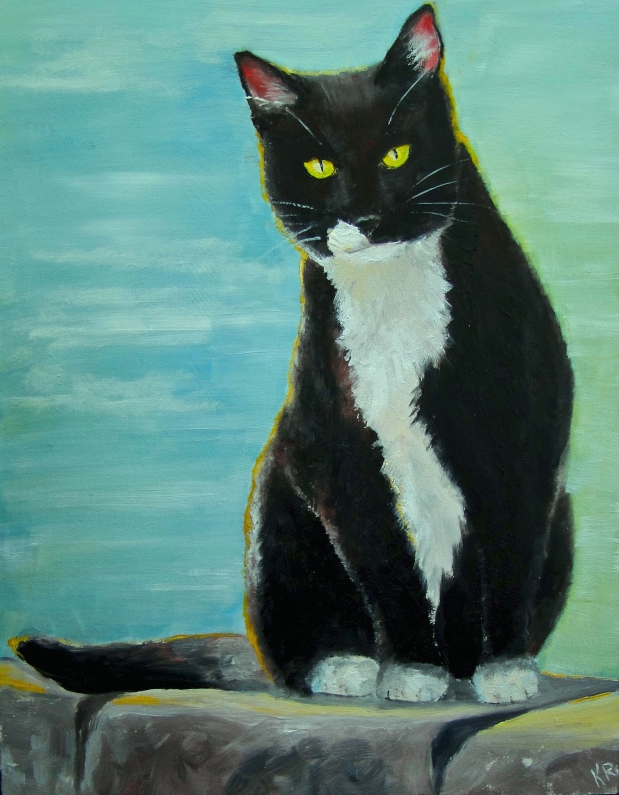 oil painting of black and white cat, a pet portrait by karen, cat painting