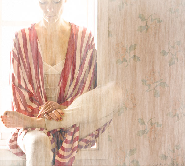 Psynopsis Vintage Striped Silk Robe by Zorn Cos Cashmere Leggings Wolford Bodysuit