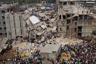 Overhead view of collapsed Rana Plaza building, Dhaka, Bangladesh, which held several factories and thousands of workers
