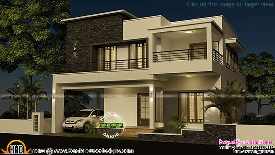 House elevation flat roof