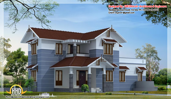 1850 square feet, 4BHK sloping roof home design