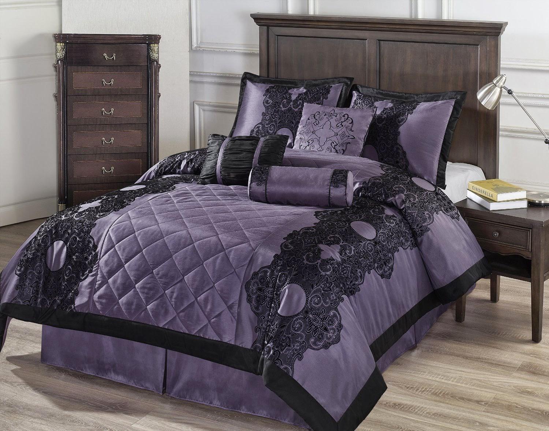 Black and purple bed sheets - Cozy Beddings Victoria 7 Piece Floral Flocking Comforter Set Queen Purple Black