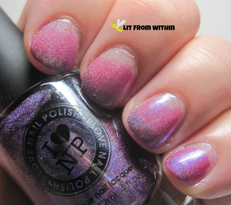 Daring Digits unknown, Lilipad Lacquer Blooming Violets, Liquid Lacquer Houses of The Holy, I Love Nail Polish Amanda Hugginkiss.