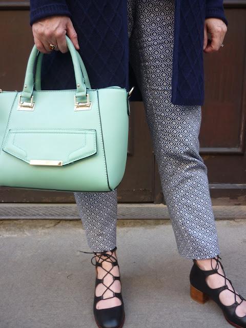 Patterned Trousers & Mini Mint Tote | Petite Silver Vixen