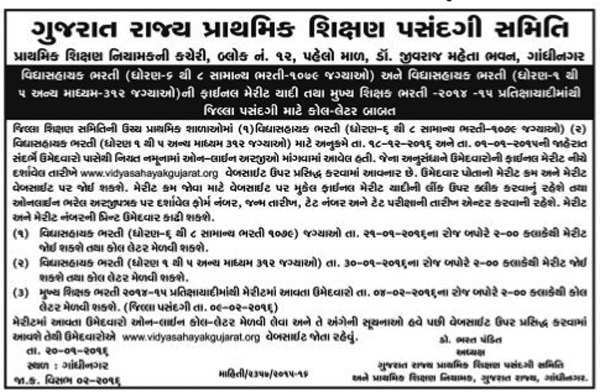 Vidhyasahayak Bharti Call Letter & Final Merit List Notification 2016