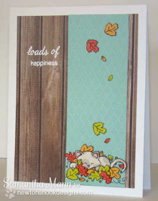 Wagon of Wishes Kitty Fall card - Samantha Mann for Newton's Nook Designs