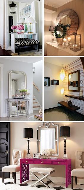 hall de entrada com espelhos na parede