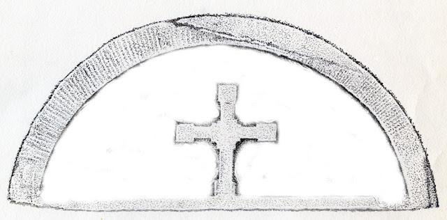 Końskie, kościół p.w. św. Mikołaja - romański tympanon. Centralnie umieszczony krzyż. Fragment rysunku Mariana Chochowskiego.
