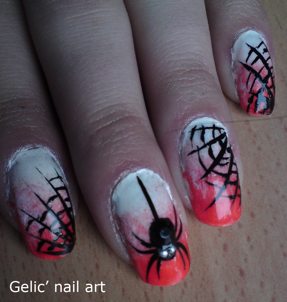 Gelic Nail Art Halloween Spider And Spider Web Nail Art
