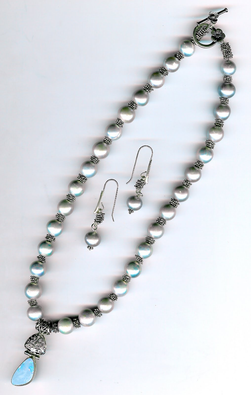 231. Akoya Pearls, Bali Sterling Silver with Opal Pendant set in Sterling Silver