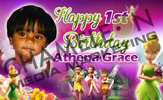Tinkerbelle Fairy Themed Birthday Banner with child photo