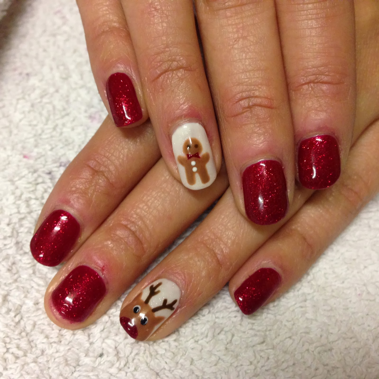 up!: CND Shellac Christmas Nail Art - #8 Rudolph and Gingerbread Men