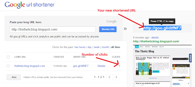 Google url shortener after link has been shortened preview