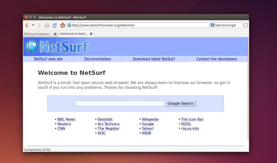 NetSurf in Ubuntu