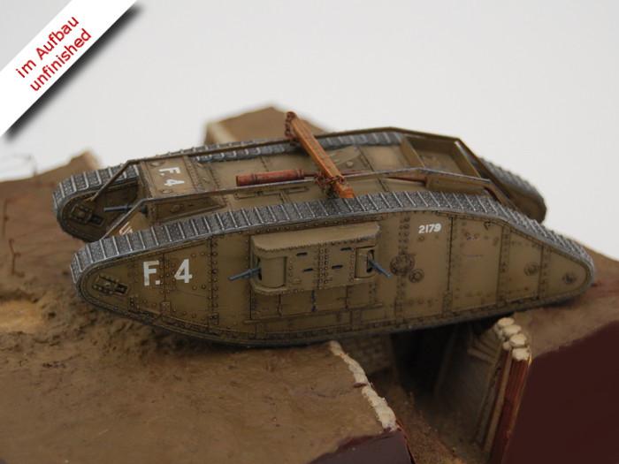 Erster Weltkrieg Diorama eines englischen Schützengrabens mit Tank und Soldaten, Diorama of a British Trench in WWI Bild 4