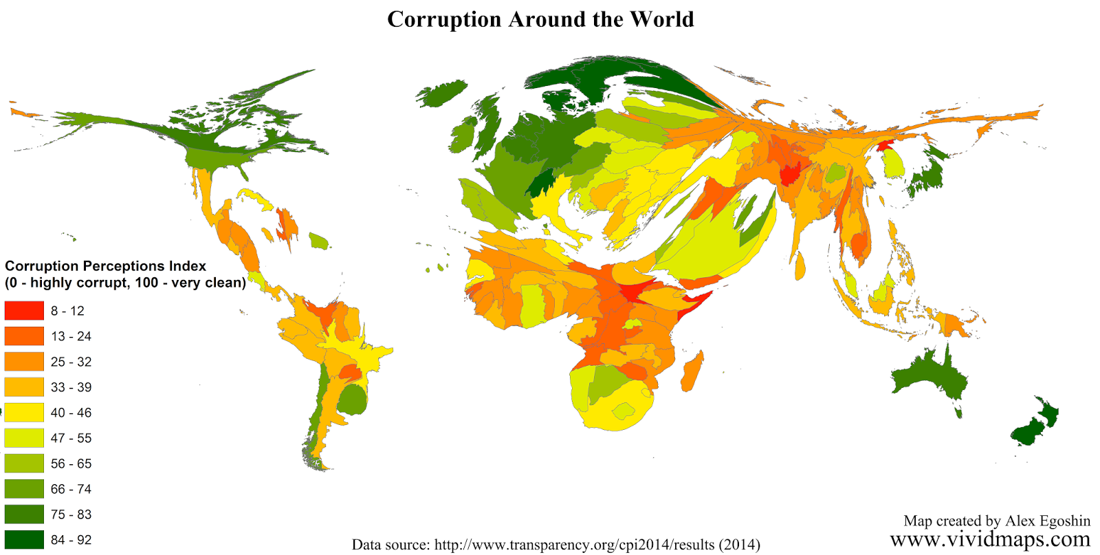 Corruption Perceptions Index (Cartogram)