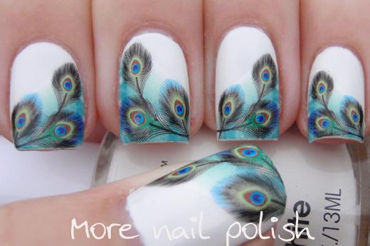 Peacock Water Decal Nail Art More Polish