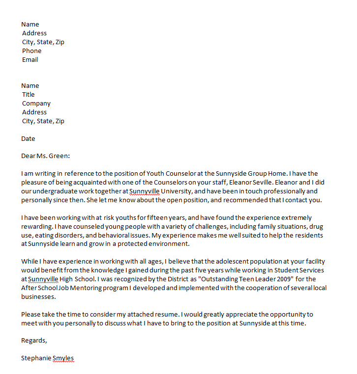 cover letter referral email sample sample cover letter cover ...