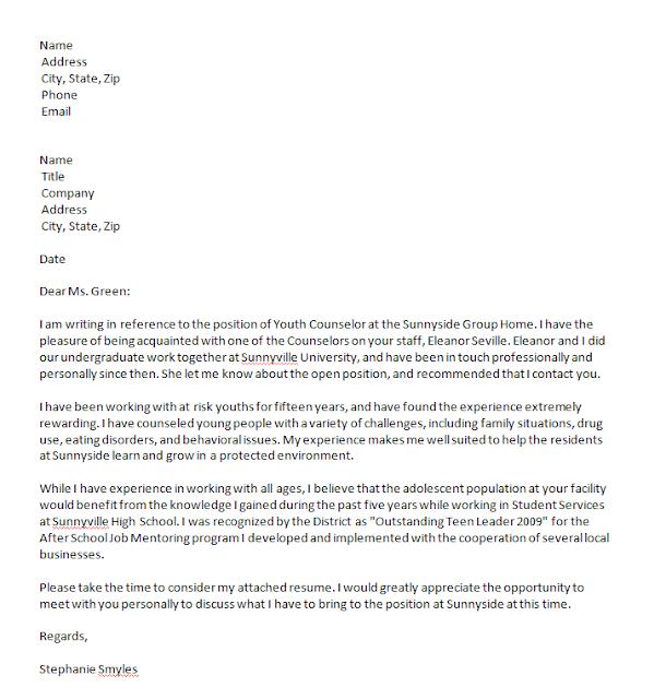 cover letter job referral cover letter cover letter example for