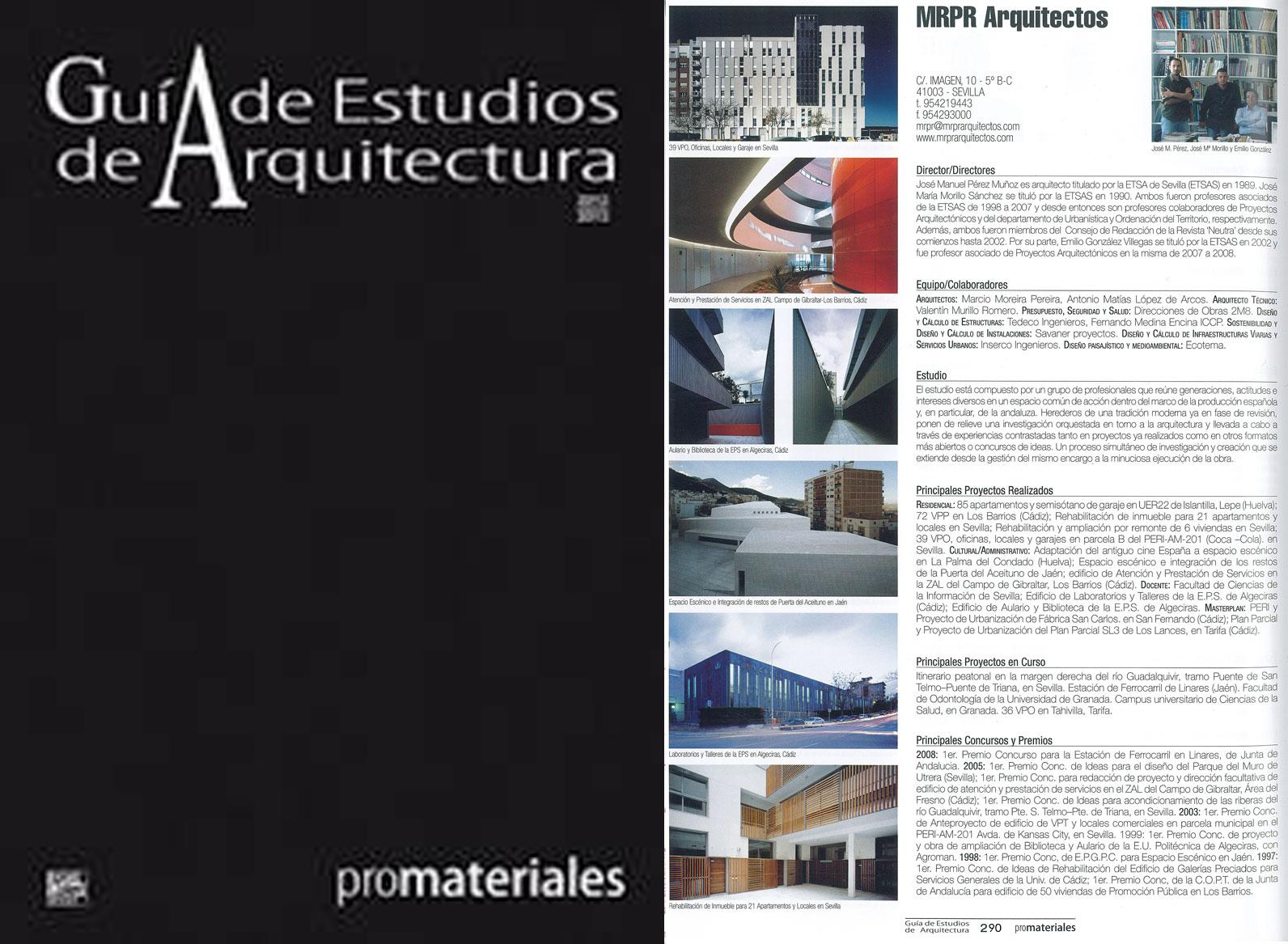 Mrpr arquitectos publicaci n en gu a de estudios de - Estudios de arquitectura sevilla ...