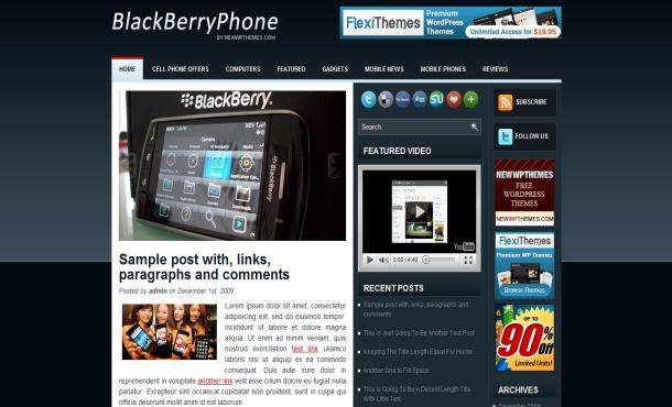 Free Wordpress Mobiles Blue Jquery Theme