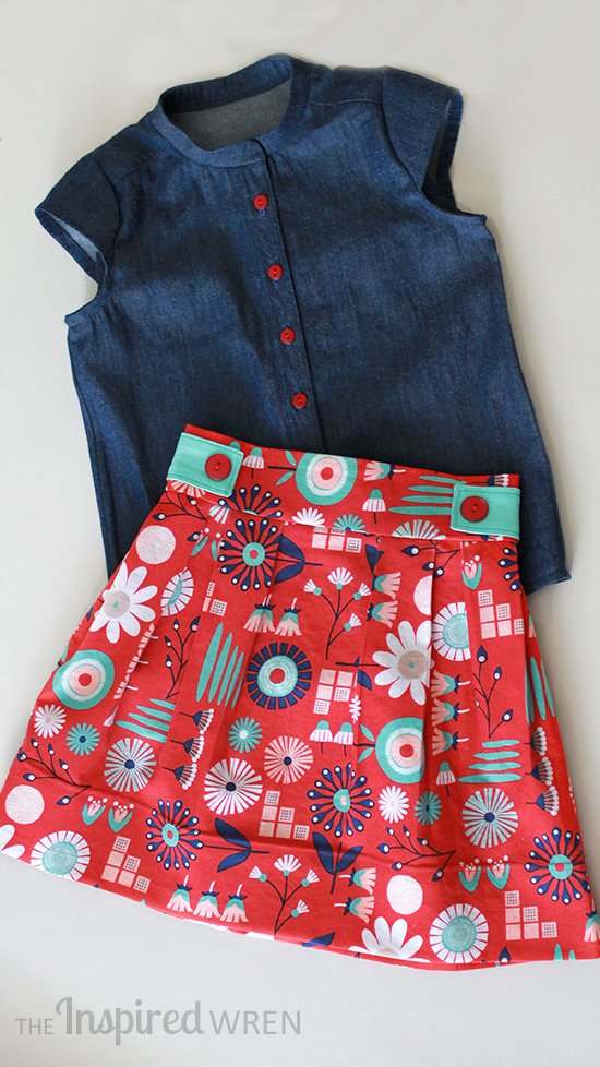 Sew a simple denim shirt paired with a tailored skirt for classic girls' Summer wear. | The Inspired Wren