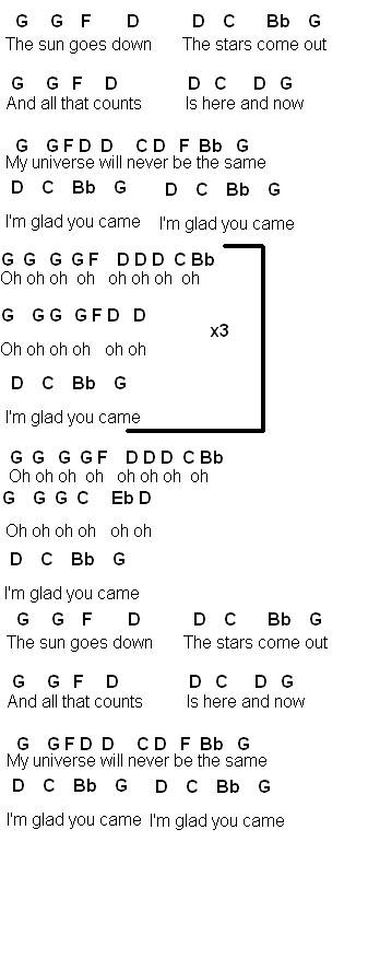 Flute Sheet Music Glad You Came