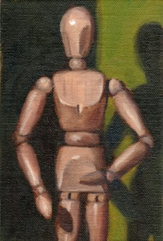 Oil painting of the top three-quarters of a wooden artist's model in front of a green background.